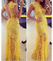 Long Line Yellow Maxi Dress – Lace / Open Back Cut
