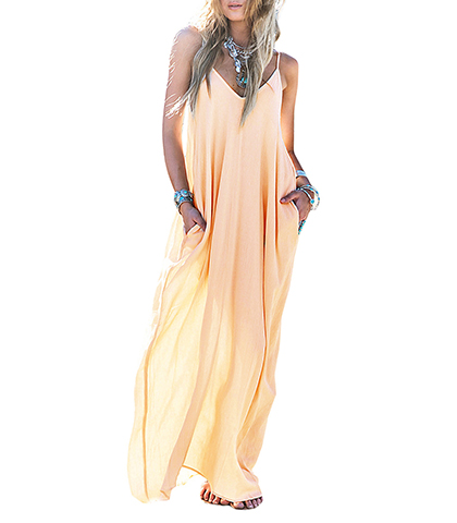 Summer Maxi Dress – Ombre Peach to Yellow / Spaghetti Straps