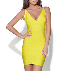 Sexy Sleeveless Bodycon Mini Dress – Bright Yellow / Vee Neckline