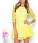 Lace Mini Dress – Bright Yellow / Semi-Sheer / Three Quarter Length Sleeves