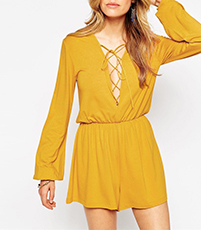 Gold Yellow Mini Dress – Long Sleeves / Long Bell Sleeves