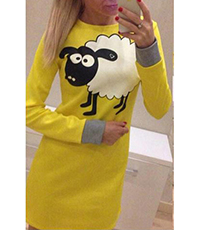 Yellow Shift Dress – Sheep Decal / Long Sleeves