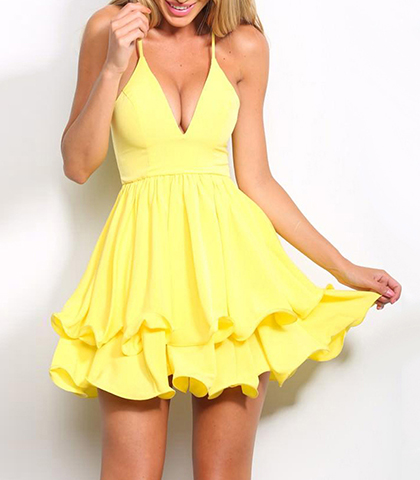Yellow Party Chiffon Dress – Plunging Neckline / Strappy / Zippered Closure / Ruffled Hemline
