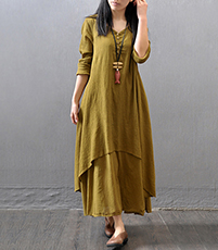Layered Crepe Swing Dress – Dual Hemlines / Cuffed Sleeves / V-Neck